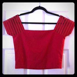 NWOT Wyldr Red Off shoulder crop top size L